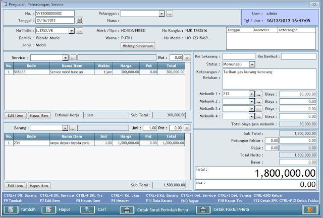 Mesin Kasir Bengkel SOftware Progfram Bengkel Include