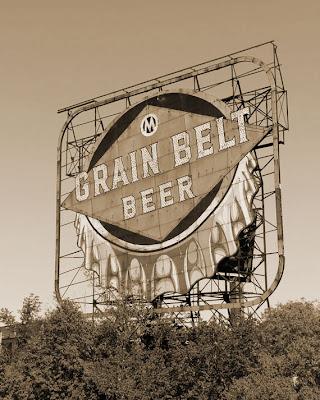 Sepia toned Grain Belt beer sign in Minneapolis Minnesota