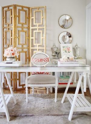 home office desk vignette styling  gold room divider and accessories