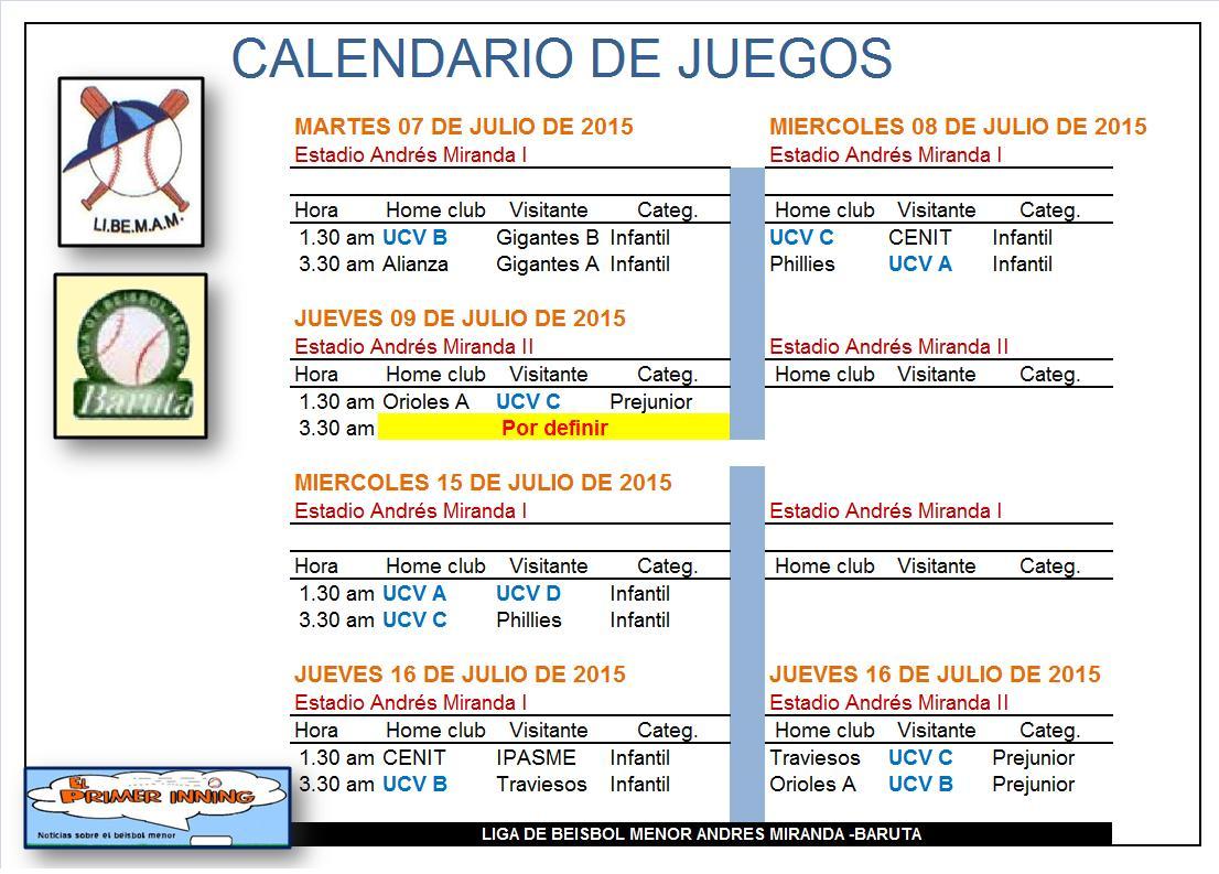 Calendario de juegos entre semana
