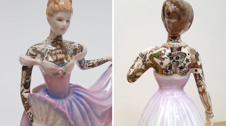 Artista cubre agraciadas esculturas de porcelana con tatuajes de marinero