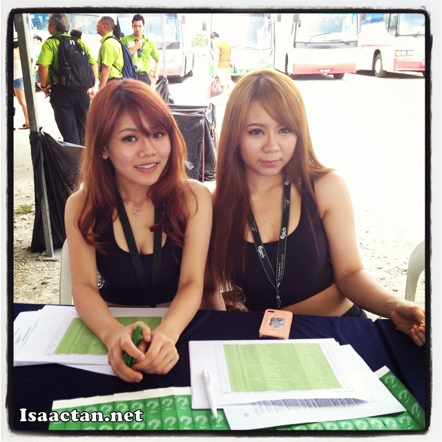 Pretty Carlsberg ladies helping us with the registration