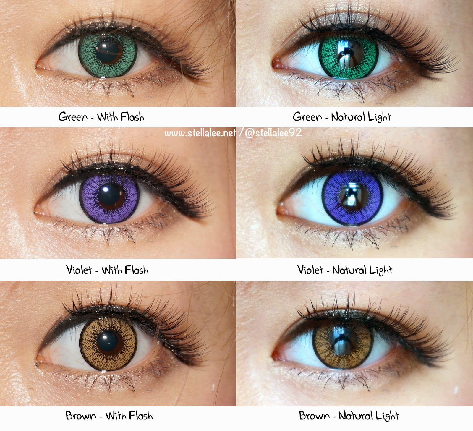Here are the parisons of the circle lenses with and without flash