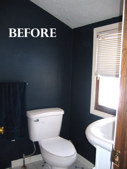 Sohl design before after home master mini bathroom for Blue and black bathroom ideas