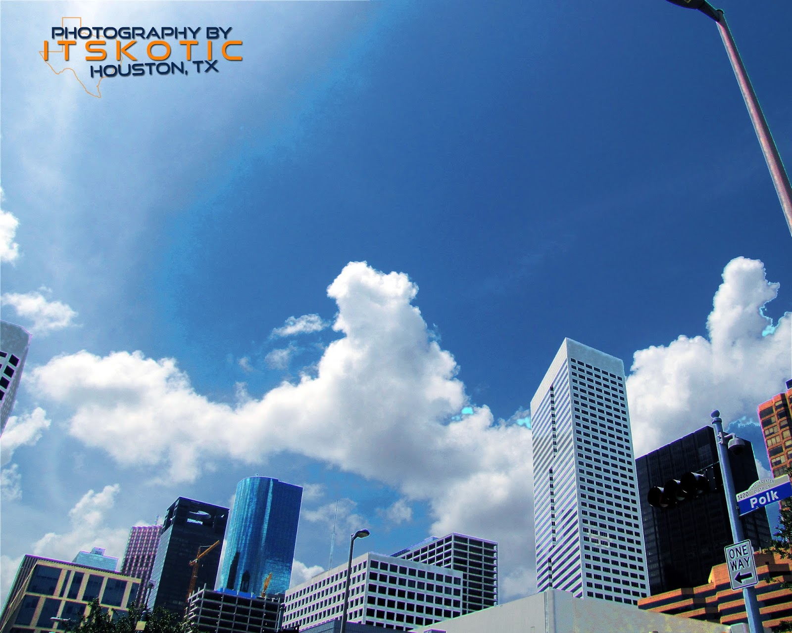Downtown Houston Texas Skyline clouds picture photograph image