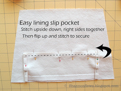 Add easy slip pockets to lining with this easy method