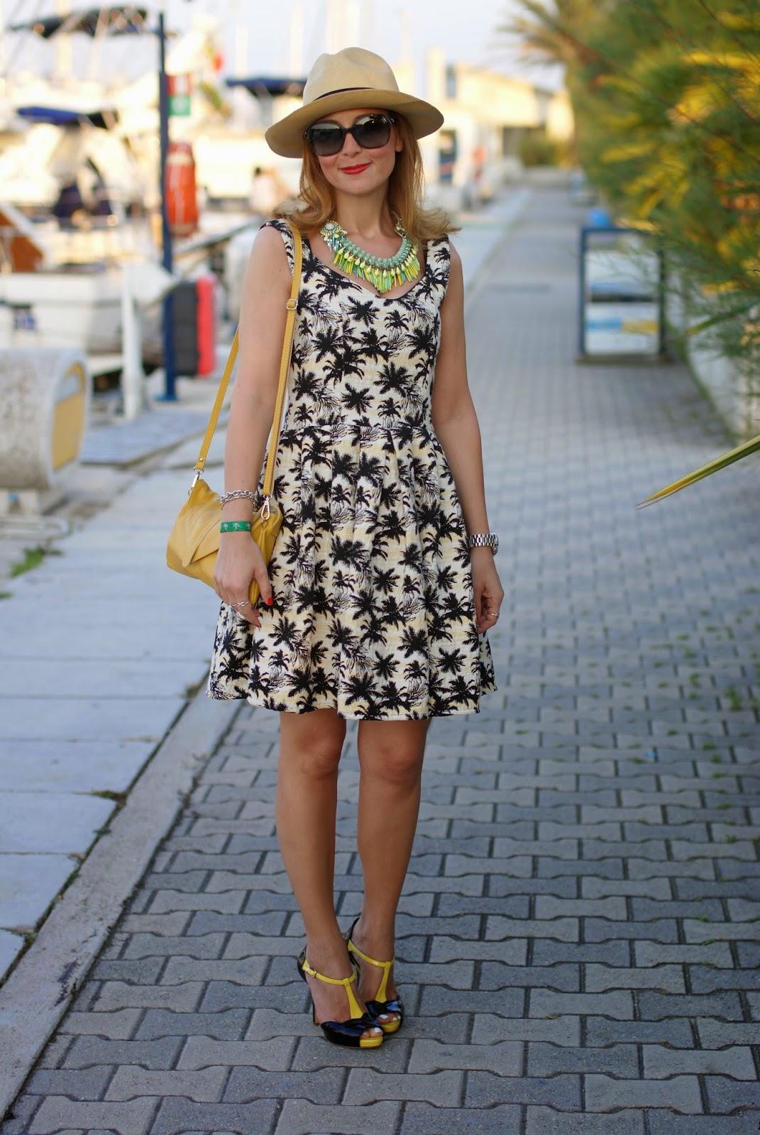 palm print dress, caleidos clutch, Sergio Levantesi shoes, ecua-andino classic panama hat, Fashion and Cookies, fashion blogger