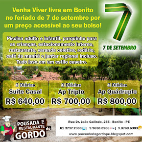 7 de setembro - Pousada do Gordo