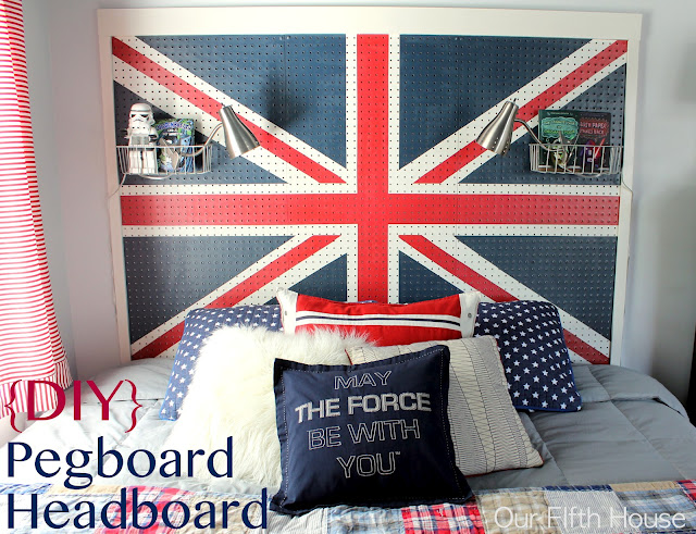 2. {DIY} Union Jack Pegboard Headboard
