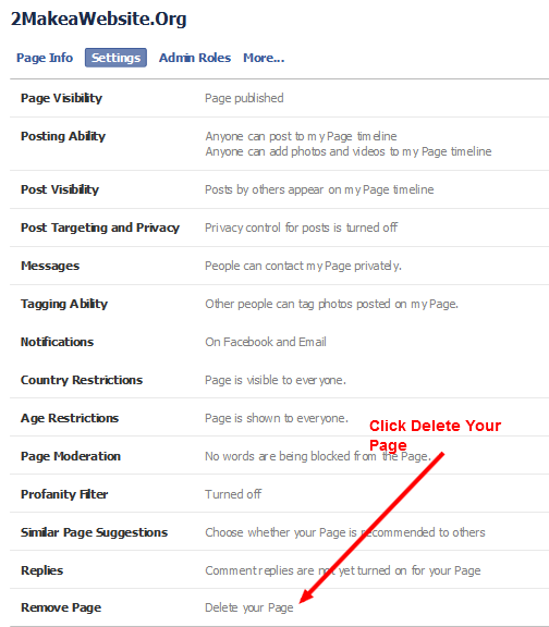 How to Delete Facebook Fan Page >> Remove Page >> Delete Page