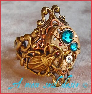 Bague Steampunk Cuivre mécanisme insecte scarabée bug scarab beatle ring copper clockwork watchwork jewellery Chronosophy