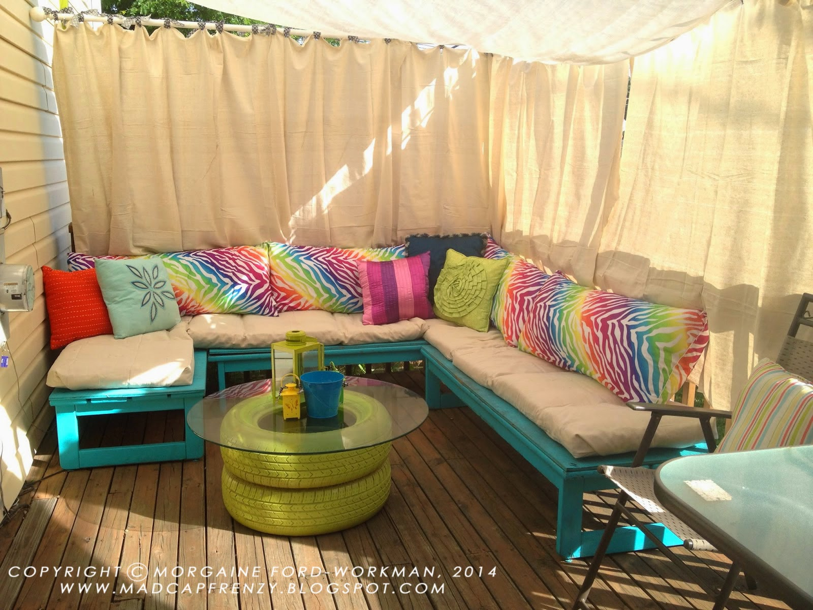 Outdoor curtains drop cloth - Operation Deck Oasis Almost Complete Adding Drop Cloth Seat Cushions And Curtains