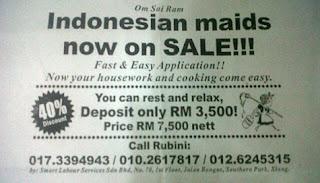 Iklan jual TKI di malaysia atau tki on sale