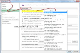 Cómo cambiar el formato de fichero guardado por defecto.