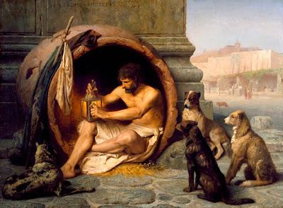 """""""Diógenes preparando su farol para salir a buscar gente honesta a la luz del día"""" (J.L.Gérôme 1860)"""