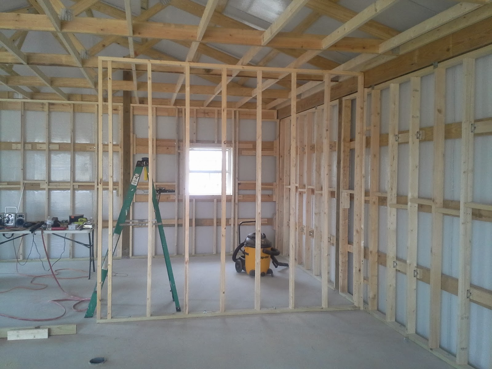 we got the interior wall all framed up here is a shot of our first ever interior wall frame section