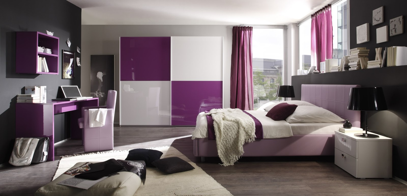 dormitorios para chicas en color morado dormitorios. Black Bedroom Furniture Sets. Home Design Ideas