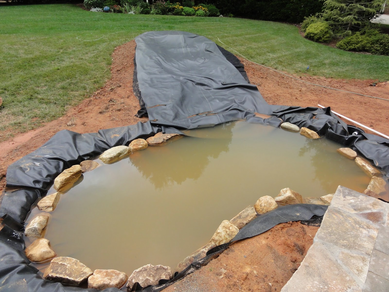 Happy home patio before afters - Building a garden pond step by step extra aesthetics and value ...