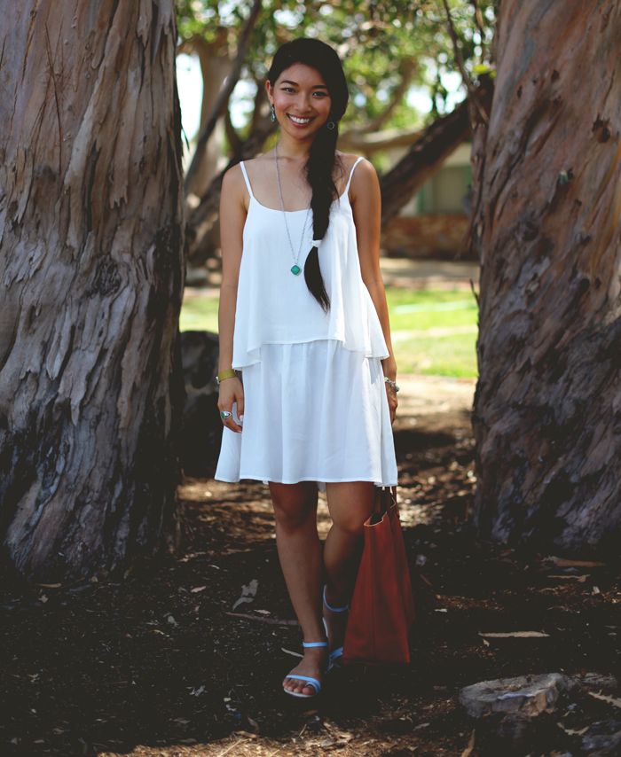 Stephanie Liu of Honey & Silk wears LAST NIGHT Dove Dress, Madewell leather tote, and Tacori City Lights jewelry