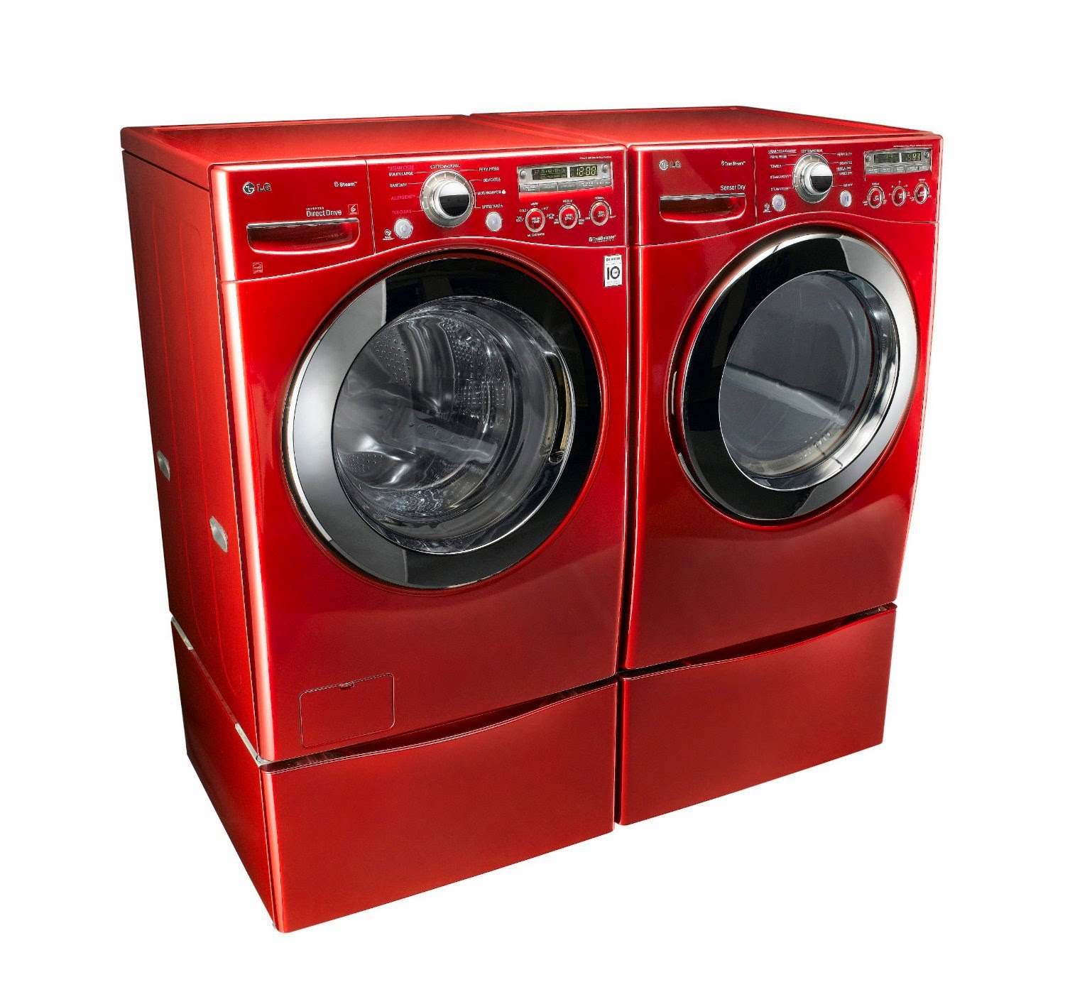 lg cherry red steam laundry pair with matching pedestals and electric dryer