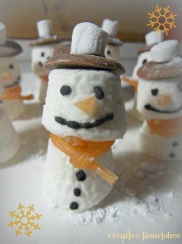 Creative flourishes a christmas craft edible snowmen for Edible christmas crafts for kids