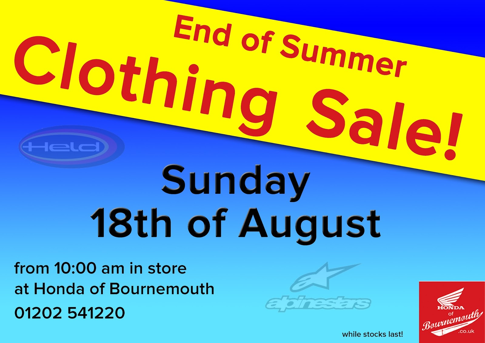 Honda of Bournemouth Blog: End of Summer Clothing Sale at ...
