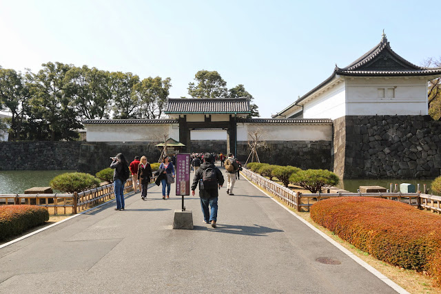 Heading to Imperial Palace East Garden as we enter through Otemon main gate entrance in Tokyo, Japan