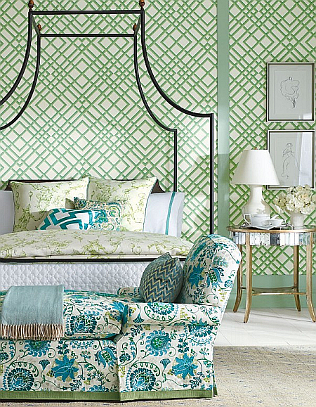 green and turquoise rooms