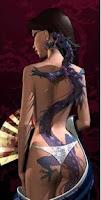 tattoo, tatuagem, desenho, mulher, dragão, calcinha