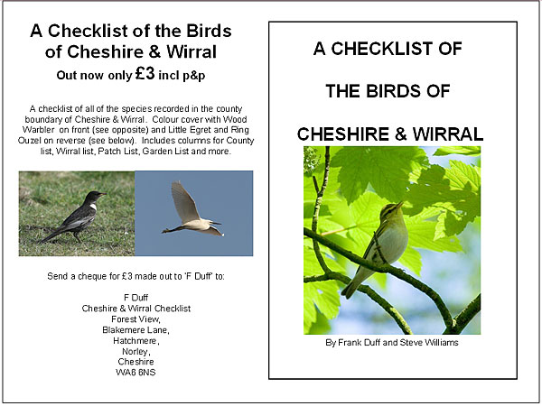 CHECKLIST OF THE BIRDS OF CHESHIRE AND WIRRAL