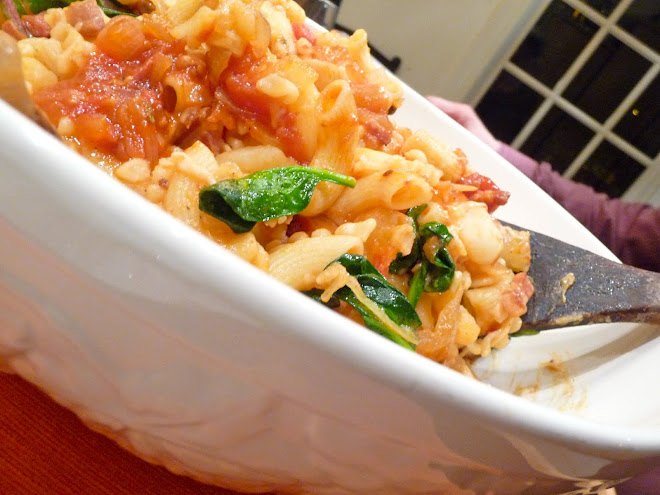 Pasta with Hot Pancetta, Potatoes, Tomatoes, Parmesan & Power Greens