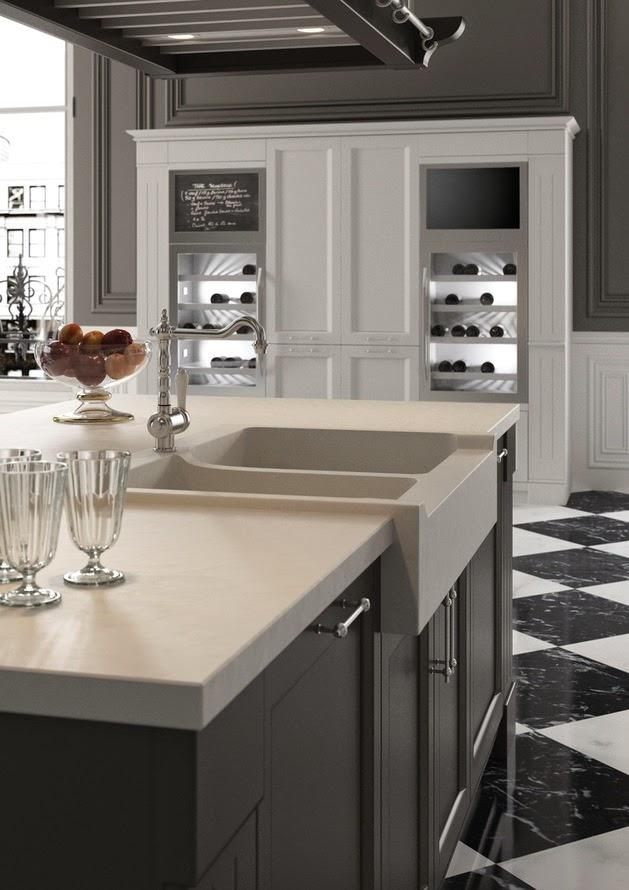 Dapur sanggup bermetamorfosis ruangan yang mengingatkan kita akan masa kemudian Rancangan Desain Dapur Bertema Klasik Hitam Putih