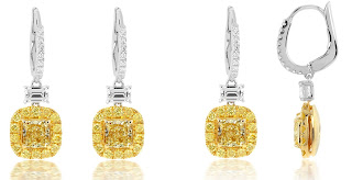 Carat Fancy Intense Yellow Diamond Earrings