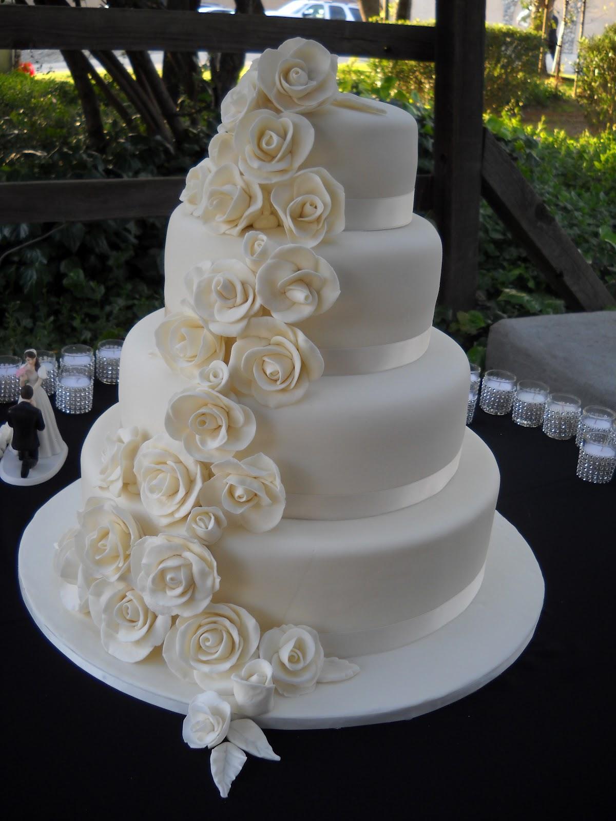 Ashleys Fondant Rose Wedding Cake