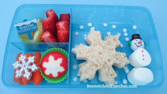 Snowflakes, snowman, winter, bento lunch