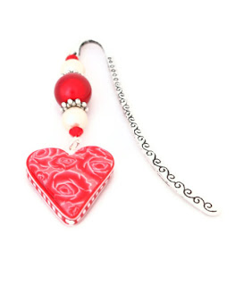 Red Rose Heart Beaded Bookmark handmade from polymer clay Valentine Gifts & Jewellery