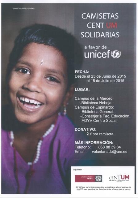 Venta solidaria de camisetas del CENTUM, a favor de UNICEF.