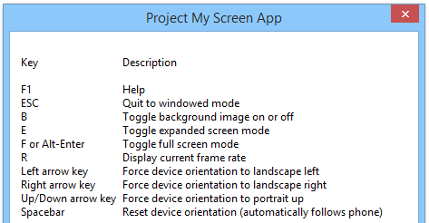 Project My Screen App for Windows Phone 8.1 Keyboard Shortcuts