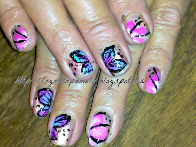 butterfly one stroke nail art