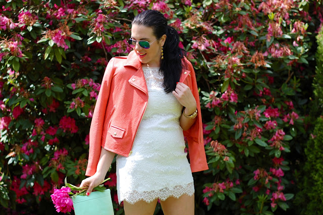 White eyelash lace dress, Theory coral leather jacket, mint leather GAP clutch, Steve Madden suede platforms and flash mirror sunnies.