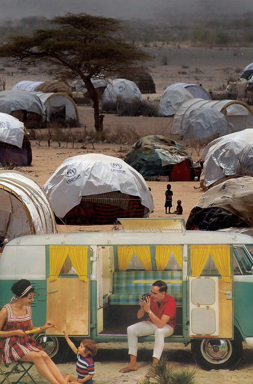 35 Cynical Collages That Tell Uncomfortable Truths About The World - Camping
