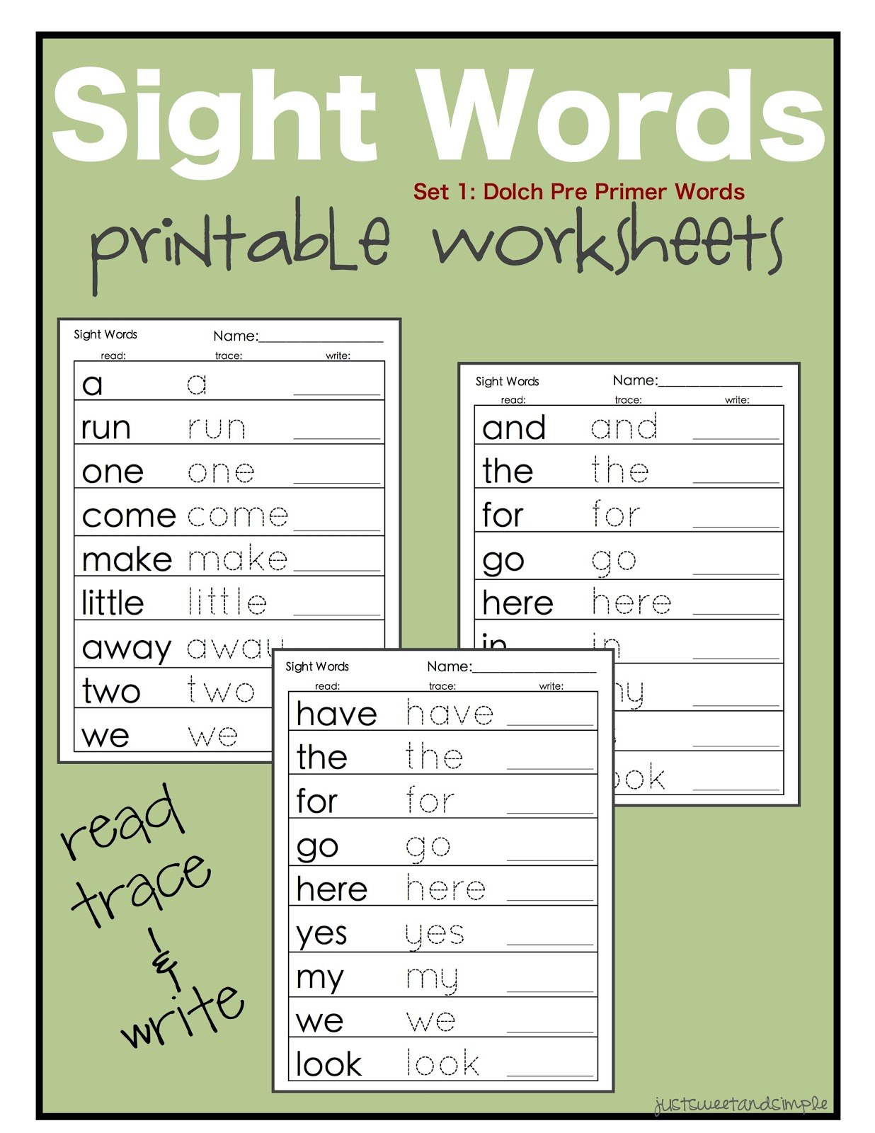Worksheet Preschool Site Words just sweet and simple preschool practice printable dolch site since the sight word lists includes many words he can sound out i first want him practicing those that cant because to