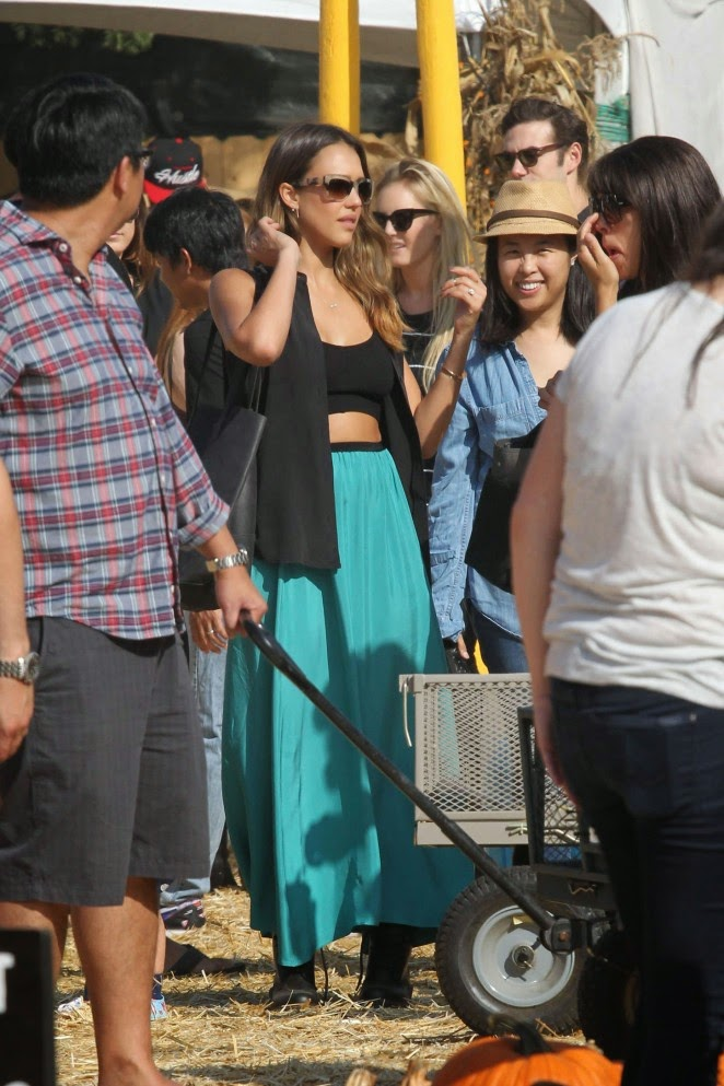 Jessica Alba wears turquoise skirt and grey top for pumpkin patch visit in West Hollywood