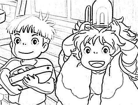 La ni a marmota colorear para ni os ponyo for Ponyo coloring pages