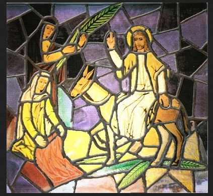 Palm Sunday scene in stained glass - Artist unknown