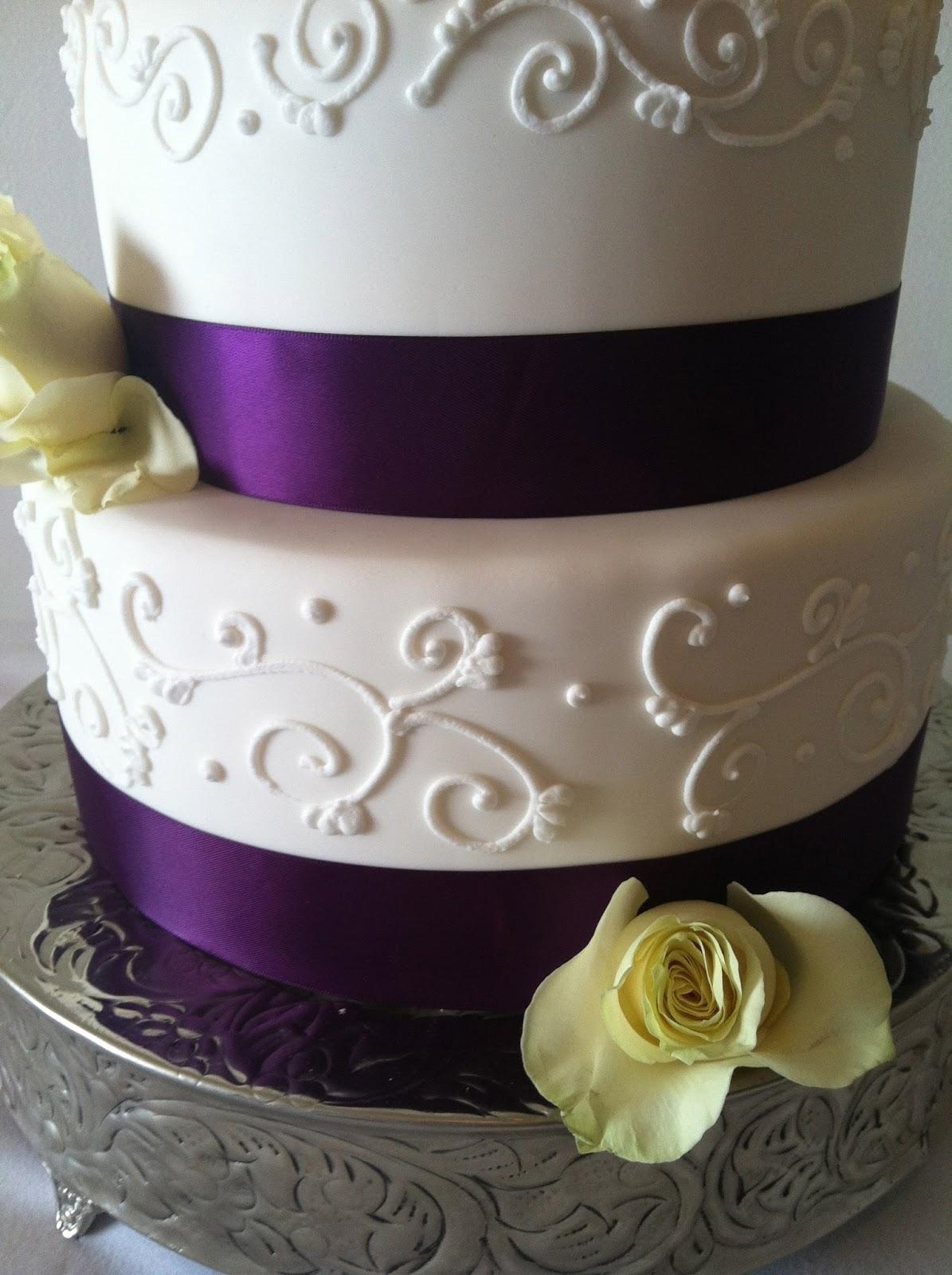 A Little Something Sweet Purple Roses Wedding Cake