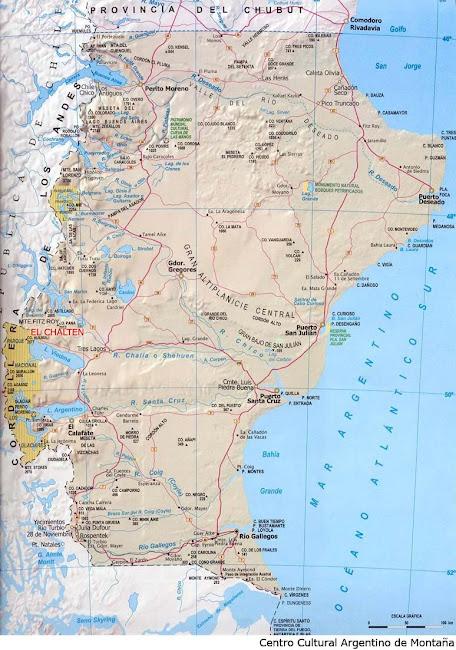 Mapa região El Chaltén - El Calafate - Argentina