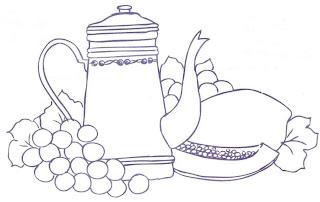 desenho bule com uvas e mamão
