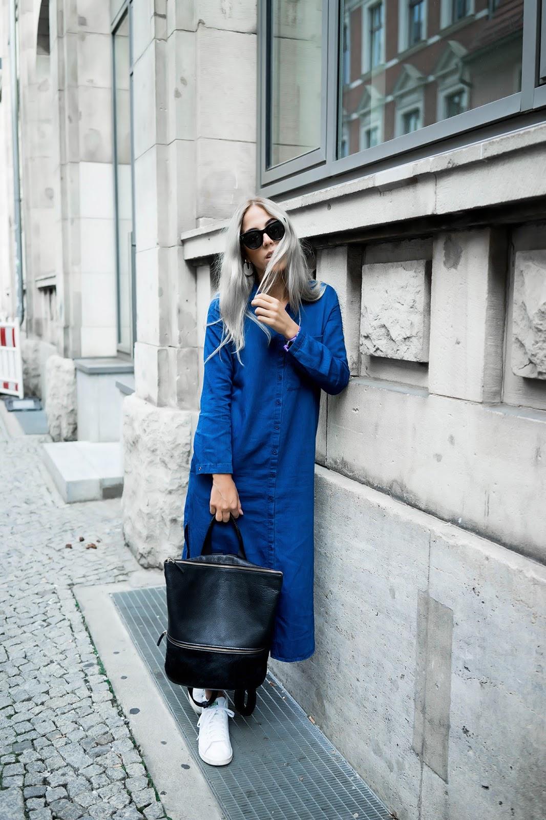 alison liaudat, swiss blogger, swiss fashion blog, Fashion blogger from Switzerland, blog suisse, outfit, grey hair, berlin, zara, long denim shirt dress,