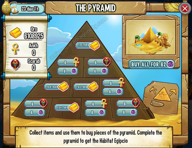 imagen de los objetos magicos de la piramide de dragon city